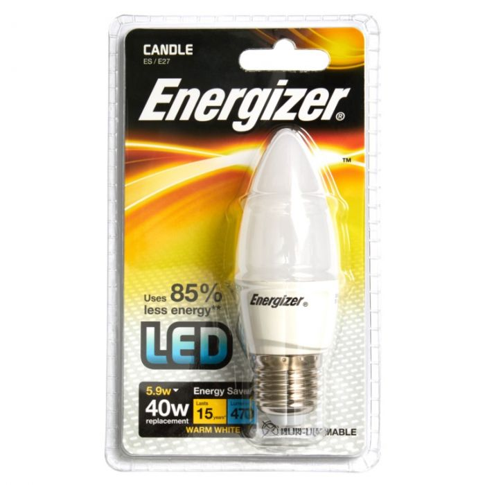 Energizer E27 Warm White Blister Pack Candle 5.9W