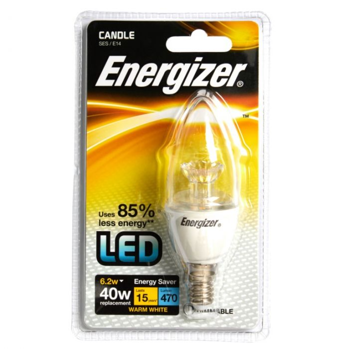 Energizer E14 Warm White Blister Candle Ses 6.2 Dimmable