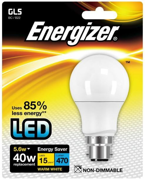Energizer B22 Warm White Blister Pack Gls 5.6W 470Lm