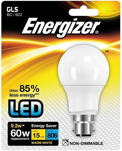 Energizer B22 Warm White Blister Pack Gls 9.2W