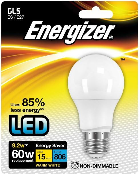 Energizer E27 Warm White Blister Pack Gls 9.2W