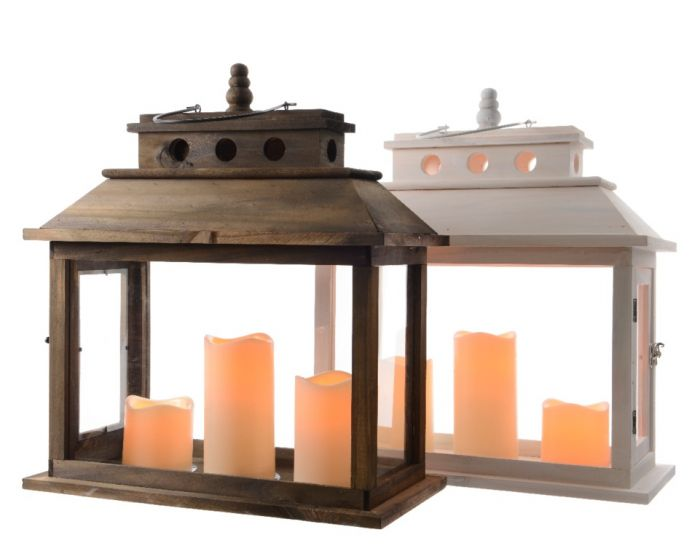 Led Wooden Lantern With 3 Candles & Timer