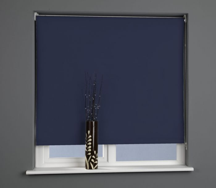 Universal Plain Black Out Roller Blind Midnight Blue 120Cm