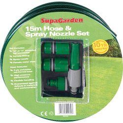 Supagarden Hose & Spray Nozzle Set 15M