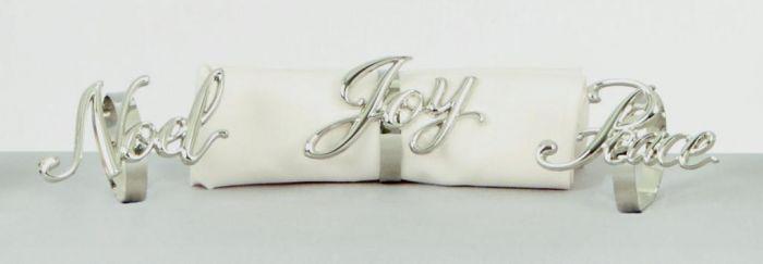 Silver Napkin Ring Peace Noel Joy