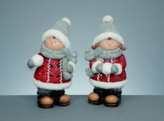 Standing Boy & Girl With Knitted Hat