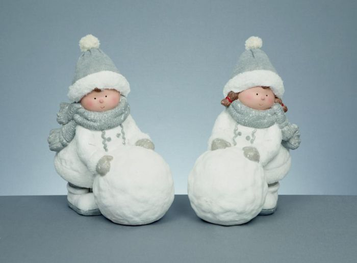 Boy & Girl With Snowball & Knitted Hat