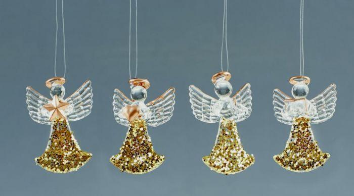 Gold Glitter Glass Angel