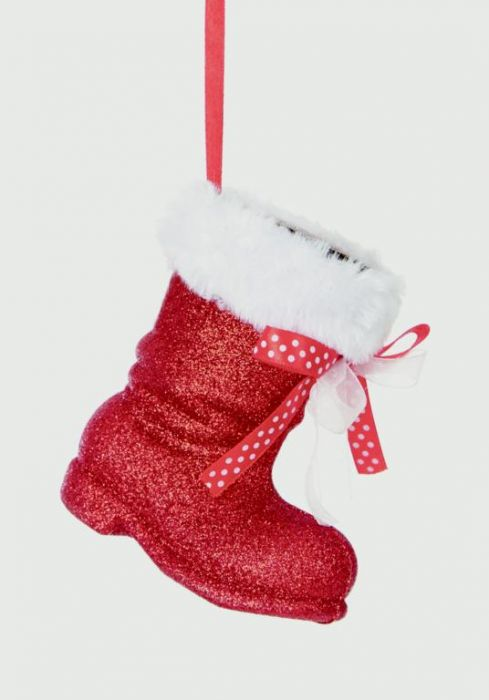 Red & White Santa Boot Hanging Decoration