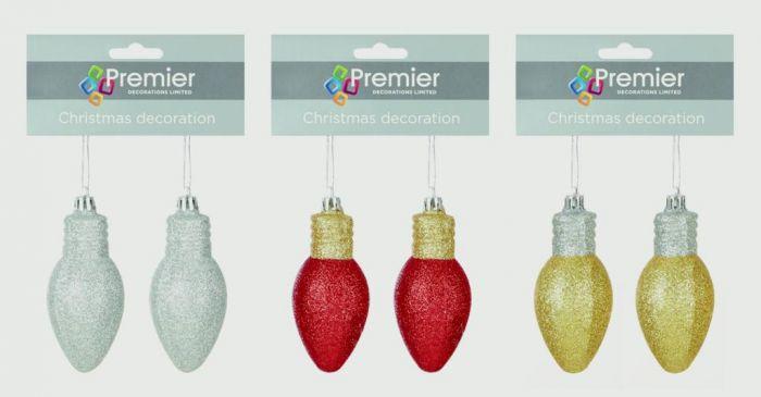 Set-2 Glitter Bulb Trim Red Gold & Silver