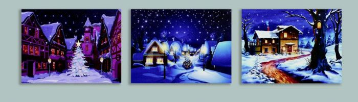 Led Top Snowing Canvas Houses With Timer