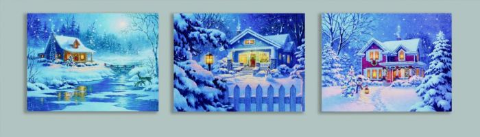 Led Canvas Snowing Houses With Timer