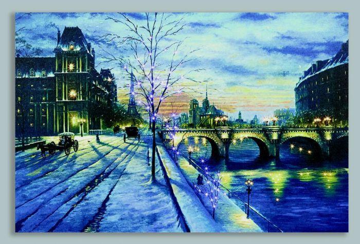 Winter Bridge Scene Canvas