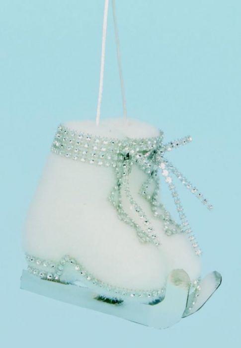 Pair White Ice Skates Diamante Trim