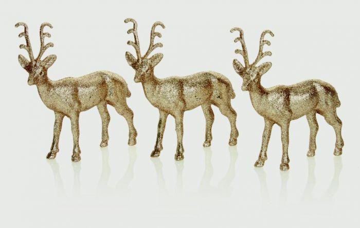 Gold Glitter Reindeer 14Cm