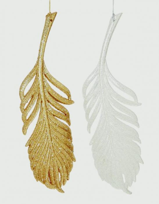 Glitter Feather Decoration Gold Champagne & Silver
