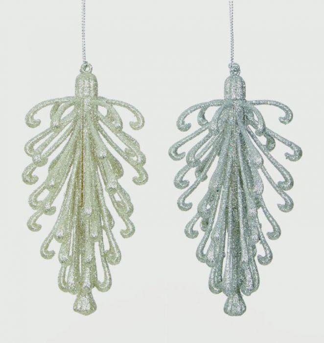 Glitter Cone Decoration Silver Champagne