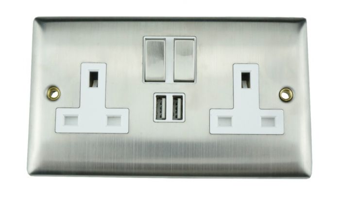Lyvia 2 Gang Switched Socket 2 X 2.1A Usb Venetian With White Inserts