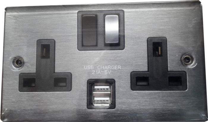 Lyvia 2 Gang Switched Socket 2 X 2.1A Usb Slate