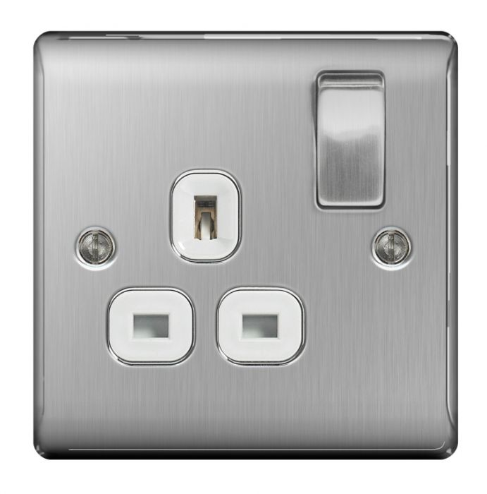 Nexus Brushed Steel Switched Socket 13A White Inset 1 Gang