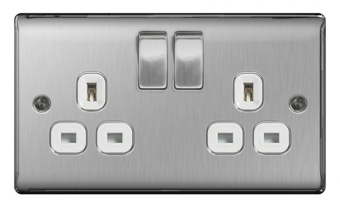 Bg 13A 2 Gang Switch Socket Brushed Steel With White Inserts