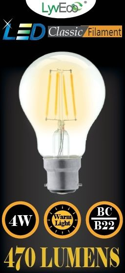 Lyveco Bc Clear Led 4 Filament 470 Lumens Gls 2700K 4 Watt