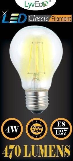 Lyveco Es Clear Led 4 Filament 470 Lumens Gls 2700K 4 Watt