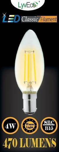 Lyveco Sbc Clear Led 4 Filament 470 Lumens Candle 2700K 4 Watt
