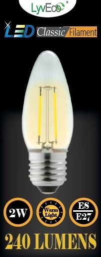 Lyveco Es Clear Led 2 Filament 240 Lumens Candle 2700K 4 Watt