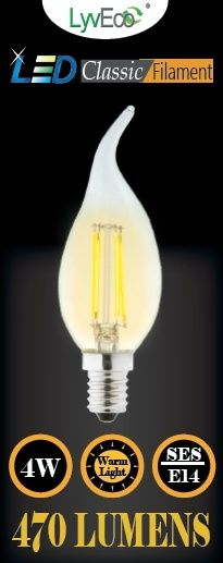 Lyveco Ses Clear Led 4 Filament 470 Lumens Candle Wick 2700K 4 Watt