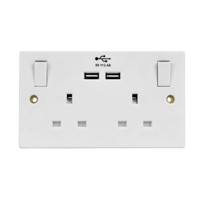 Securlec Lyvia Two Gang White Switched Socket With 2 x USB