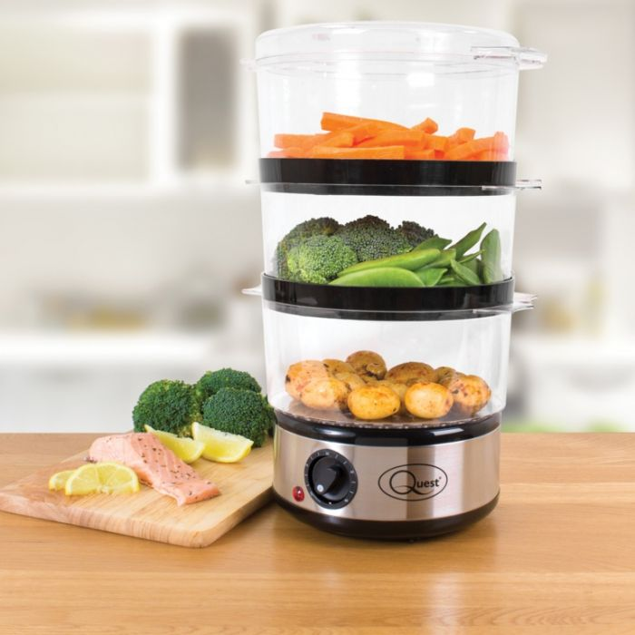 Quest 3 Layer Compact Food Steamer Stainless Steel