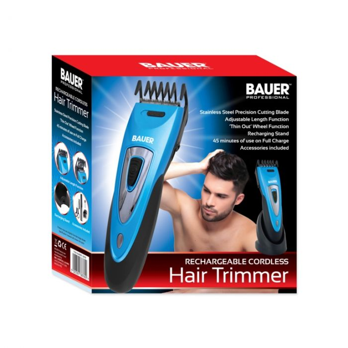 Bauer Rechargeable Cordless Hair Trimmer Metallic