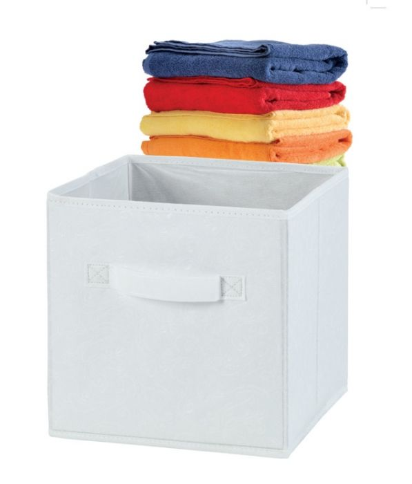 H & L Russel Embossed White Foldable Storage Box Large