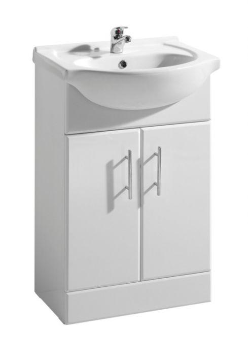 Cassellie Kass White 2 Door Vanity Unit & Basin 550Mm