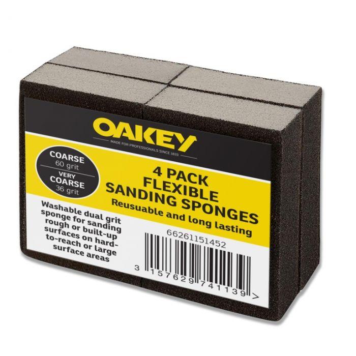 Oakey Black Flexible Sanding Sponges Coarse 60G/Very Coarse 36G Pack 4