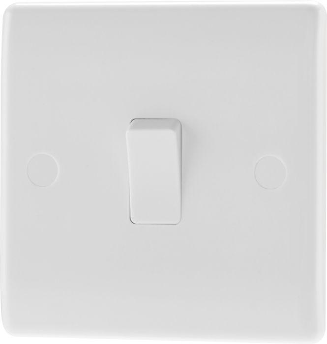 Nexus 1Way White Round Edge Switch 1 Gang