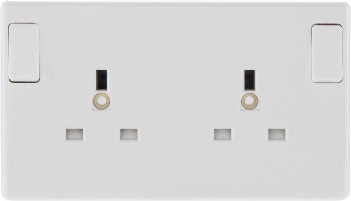 Nexus 2 Gang White Round Edge Single Pole Switched Socket 13A