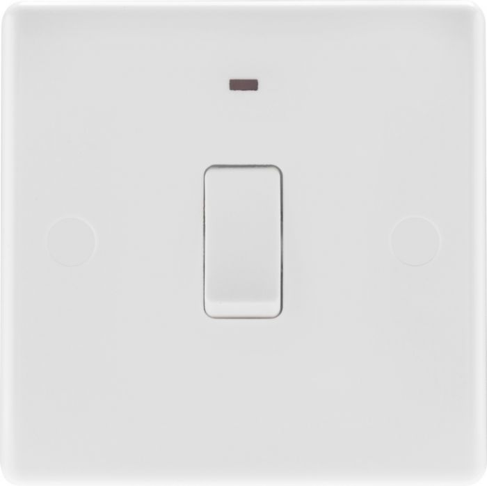 Nexus White Round Edge Double Pole Switch With Led 20A