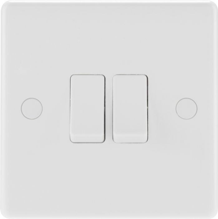 Nexus 2 Gang 2 Way White Round Edge Switch 10A