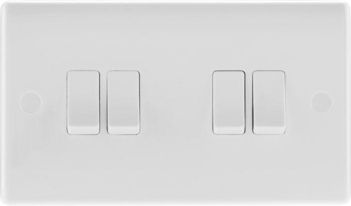 Nexus 2 Way White Round Edge Switch 10A 4 Gang