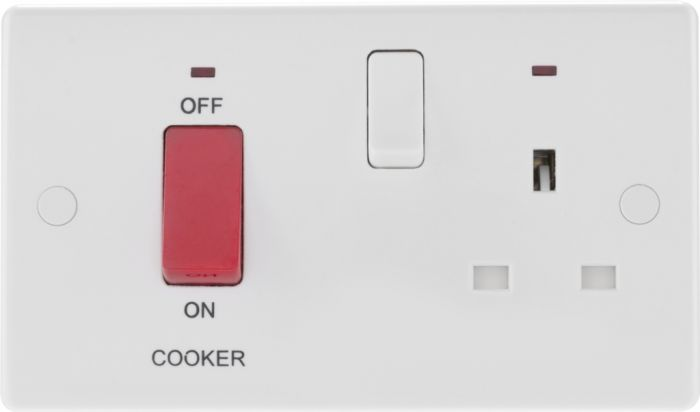 Nexus White Round Edge Cooker Control Unit 45A With 13A Socket & Led