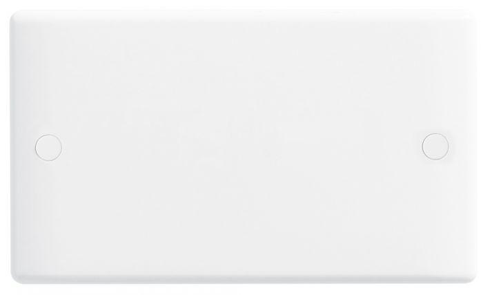 Nexus White Round Edge Blank Plate 2 Gang
