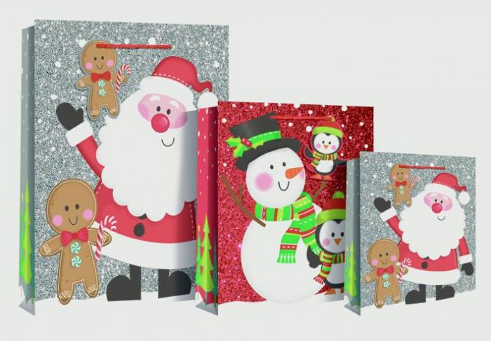 Santa Snowman Scene Bag Large