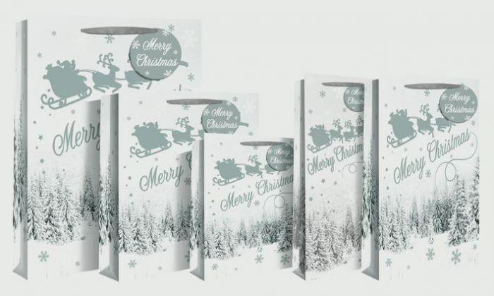 Santa Snow Silhouette Bag Large