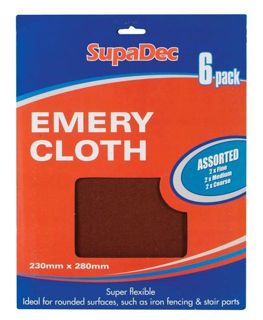 Supadec Emery Cloth Pack 6 Assorted