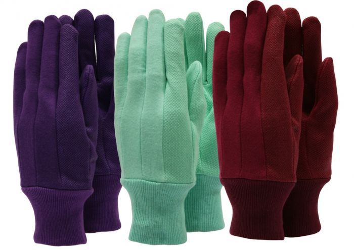 Town & Country Ladies Cotton Jersey Gloves Triple Pack