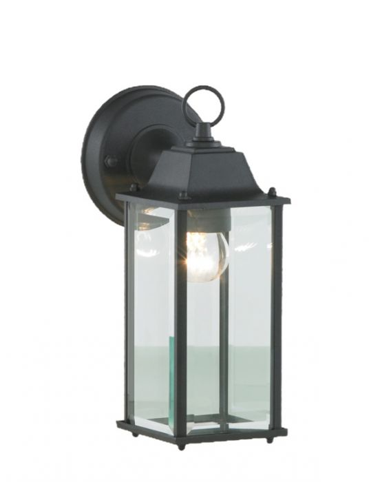 Zink Outdoor Wall Lantern With Bevelled Glass Black