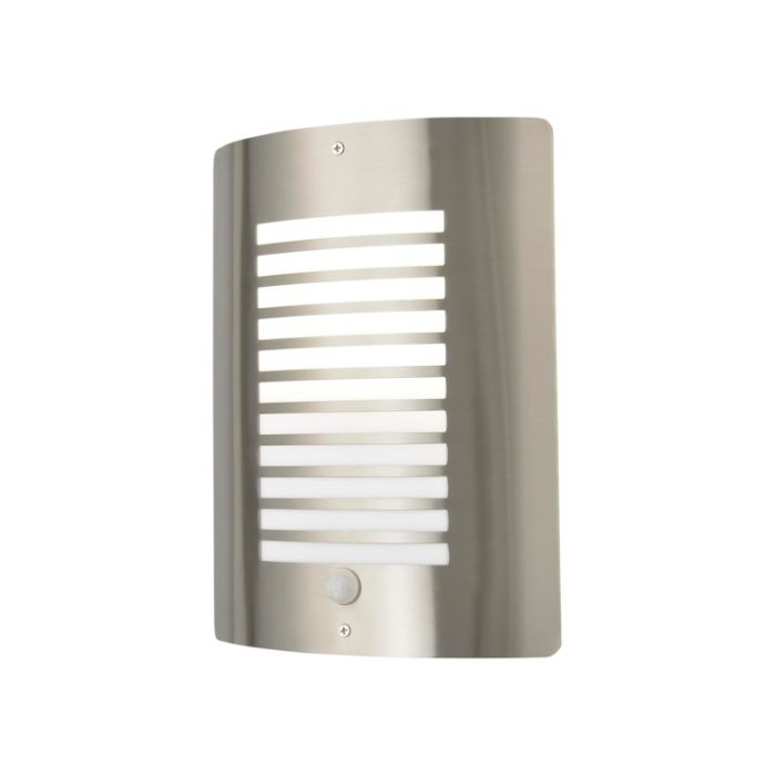 Zink Sigma Slatted Wall Light With Pir Stainless Steel