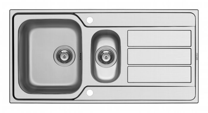 Pyramis Athena Stainless Steel 1.5 Bowl Inset Sink 1000 X 500Mm